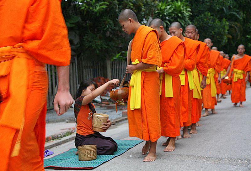 Alms ceremony, Laos